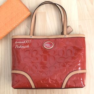 Coach Embossed Patent Leather Top Handle Bag EUC
